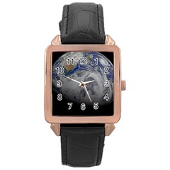 A Sky View Of Earth Rose Gold Leather Watch