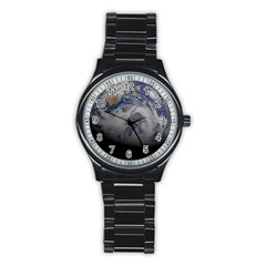 A Sky View Of Earth Stainless Steel Round Watch