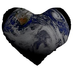 A Sky View Of Earth Large 19  Premium Flano Heart Shape Cushions