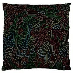Zigs And Zags Large Cushion Case (one Side)