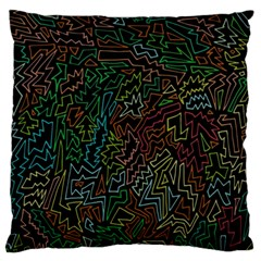 Zigs And Zags Large Flano Cushion Case (one Side)