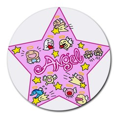 Pink Angel Star Round Mousepads