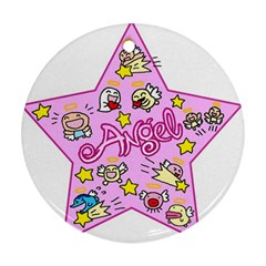 Pink Angel Star Ornament (round)