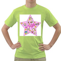 Pink Angel Star Green T Shirt