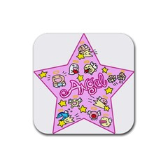 Pink Angel Star Rubber Square Coaster (4 Pack)