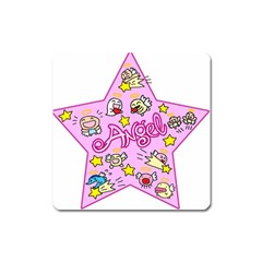 Pink Angel Star Square Magnet