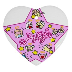 Pink Angel Star Heart Ornament (two Sides)