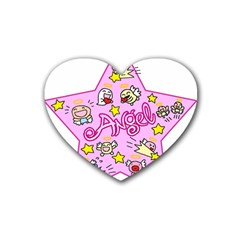 Pink Angel Star Heart Coaster (4 Pack)