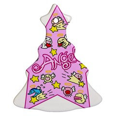 Pink Angel Star Christmas Tree Ornament (two Sides)