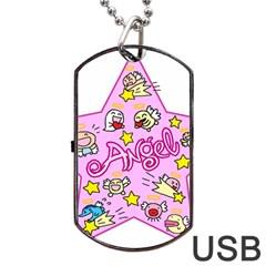 Pink Angel Star Dog Tag Usb Flash (one Side)