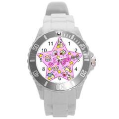 Pink Angel Star Round Plastic Sport Watch (l)