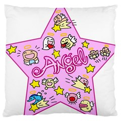 Pink Angel Star Large Cushion Case (one Side)