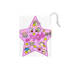 Pink Angel Star Drawstring Pouches (small)