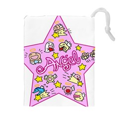Pink Angel Star Drawstring Pouches (extra Large)