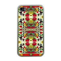 Chicken Monkeys Smile In The Floral Nature Looking Hot Apple Iphone 4 Case (clear)