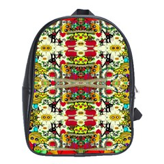 Chicken Monkeys Smile In The Floral Nature Looking Hot School Bag (xl)