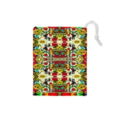Chicken Monkeys Smile In The Floral Nature Looking Hot Drawstring Pouches (small)