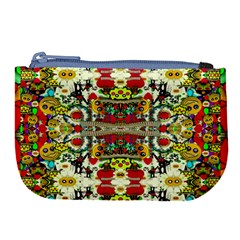 Chicken Monkeys Smile In The Floral Nature Looking Hot Large Coin Purse