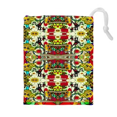 Chicken Monkeys Smile In The Floral Nature Looking Hot Drawstring Pouches (extra Large)