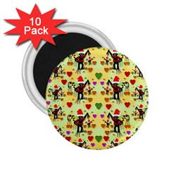 Santa With Friends And Season Love 2 25  Magnets (10 Pack)