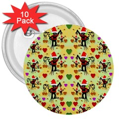 Santa With Friends And Season Love 3  Buttons (10 Pack)