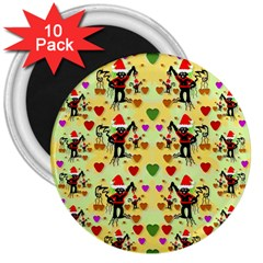 Santa With Friends And Season Love 3  Magnets (10 Pack)