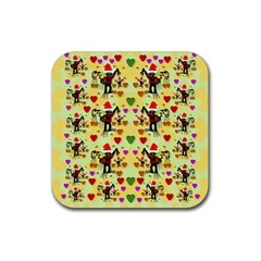 Santa With Friends And Season Love Rubber Square Coaster (4 Pack)