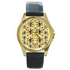 Santa With Friends And Season Love Round Gold Metal Watch