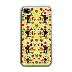 Santa With Friends And Season Love Apple Iphone 4 Case (clear)