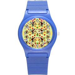 Santa With Friends And Season Love Round Plastic Sport Watch (s)