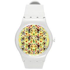 Santa With Friends And Season Love Round Plastic Sport Watch (m)