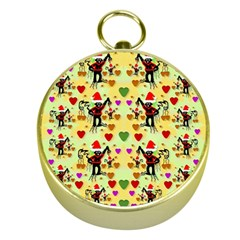 Santa With Friends And Season Love Gold Compasses
