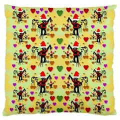 Santa With Friends And Season Love Large Flano Cushion Case (two Sides)