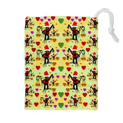 Santa With Friends And Season Love Drawstring Pouches (extra Large)