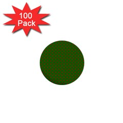 Red Stars On Christmas Green Background 1  Mini Buttons (100 Pack)