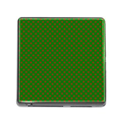 Red Stars On Christmas Green Background Memory Card Reader (square)