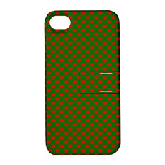 Large Red Christmas Hearts On Green Apple Iphone 4/4s Hardshell Case With Stand