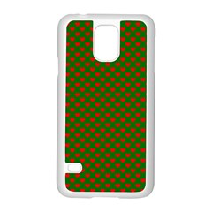 Large Red Christmas Hearts On Green Samsung Galaxy S5 Case (white)