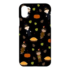 Pilgrims And Indians Pattern   Thanksgiving Apple Iphone X Hardshell Case