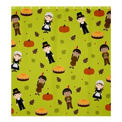 Pilgrims And Indians Pattern   Thanksgiving Shower Curtain 66  X 72  (large)