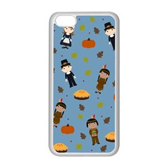 Pilgrims And Indians Pattern   Thanksgiving Apple Iphone 5c Seamless Case (white)
