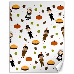 Pilgrims And Indians Pattern   Thanksgiving Canvas 18  X 24