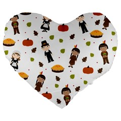 Pilgrims And Indians Pattern   Thanksgiving Large 19  Premium Heart Shape Cushions
