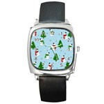Snowman pattern Square Metal Watch Front
