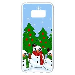 Kawaii Snowman Samsung Galaxy S8 Plus White Seamless Case