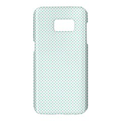 Tiffany Aqua Blue Candy Polkadot Hearts On White Samsung Galaxy S7 Hardshell Case