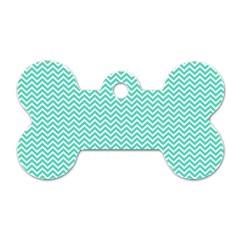 Tiffany Aqua Blue Chevron Zig Zag Dog Tag Bone (one Side)