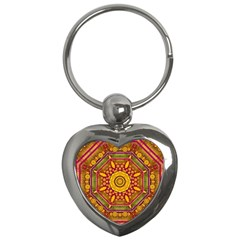 Sunshine Mandala And Other Golden Planets Key Chains (heart)