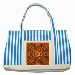 Sunshine Mandala And Other Golden Planets Striped Blue Tote Bag