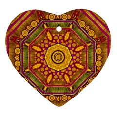 Sunshine Mandala And Other Golden Planets Heart Ornament (two Sides)